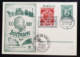 Deutsches Reich 1940, Postkarte 100 Jahre Briefmarke MiF Sonderstempel BERLIN - Lettres & Documents