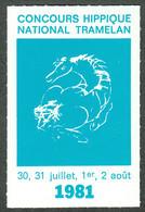 """Schweiz Suisse Bern Tramelan 1981 """" Concours Hippique National """" Vignette Cinderella Reklamemarke - Erinofilia"""