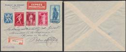 Affranch. Mixte çàd N°676, 730, 733, 736 Et 740 Sur Lettre En R Et Expres De Mons (1947) > Bruxelles. - Lettres & Documents