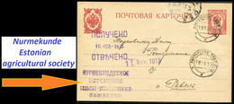 0107м Russia Nurmekunde ESTONIAN Agricultural Society Tver Province 1915 Pokrovskoe Cancel Card To Reval - Estland
