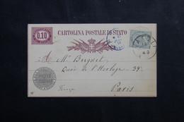 ITALIE - Entier Postal De Napoli Pour Paris En 1878 - L 73672 - Stamped Stationery