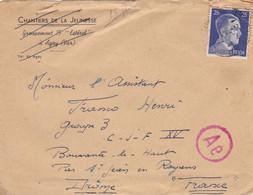 Enveloppe Timbre Deutsches Reich 25, Sur Enveloppe Chantiers De La Jeunesse Agay - Unclassified