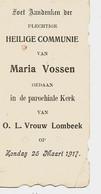 Souvenir De Communion VOSSEN Maria Te ONZE-LIEVE-VROUW-LOMBEEK (25/03/1917) - Andachtsbilder