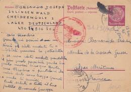Entier Postal Deutsches Reich 15 Pfe Visé Censure , Solingen 1943 - Autres