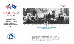 United States 1976 Australia Salutes Revolution Bicentennial MS MNH - Estados Unidos