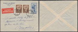 """Affranch. Mixte çàd N°758 En Paire + 754 Sur Lettre En Expres Obl Simple Cercle """"Mons"""" (1948) > Bruxelles. - Lettres & Documents"""