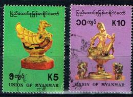 Myanmar 1993,Michel# 318 - 319 O Artifacts: Bird, Elephant - Gottheit Lawkana - Myanmar (Burma 1948-...)
