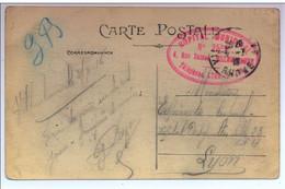 Rare Cachet Hôpital Municipal N°25 Bis Villeurbanne 1916 (23 Lits) Cp Lyon - WW I