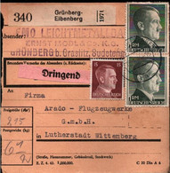 !  1944 Grünberg-Eibenberg B. Graslitz Sudeten Nach Wittenberg Arado Flugzeugwerk, Paketkarte, Deutsches Reich, 3. Reich - Covers & Documents