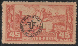 Hungria 1920 Scott 3N13 Sello * Ocupacion Rumana Debreczen Jinete Atrapando Caballos Sobreimpresion Michel 88x Yvert 72 - Debreczin