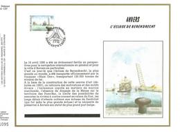 5 FEUILLES  ARTISTIQUES (AVEC SOIE)  TP N° 2377/81  CP FDC DE GERPINNES-LOMMEL-ETC..  DES EDITIONS...(VOIR LES 10 SCANS) - FDC