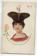 ILLUSTRATEUR JEMOLI  Jeune Femme Au Curieux Chapeau Fleur Série 147- N 2114 Uff Rev Stampa  D21 2020 - Illustratoren & Fotografen