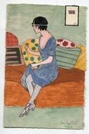 ILLUSTRATEUR Dessin Original Peinte Acquarelle  Jeune Recousant Sa Robe écrite Par Le Dessinateur  1915     D21 2020 - Illustratoren & Fotografen