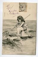 PECHE à La Crevette Jolie Baigneuse Epuisette EROTISME  1905 Timbrée    D21 2020 - Postkaarten