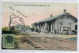 ETATS UNIS WATERFORD Arrivée  Train En Gare Voyageurs Quai Diligence Cheval  1911 écrite Timbrée       D21  2020 - United States