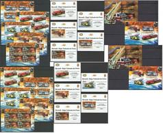 BU118 PERF,IMPERF 2012 BURUNDI TRANSPORT FIRE TRUCKS 12KB+2BL+10 LUX BL MNH - Camions
