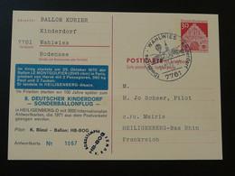 Entier Postal Stationery Vol SOS Kinderdorf Flight Ballon Le Montgolfier Montgolfière Ballonpost 1970 (ref 95951) - Briefe U. Dokumente