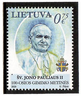 Lithuania 2020.The 100th Anniversary Of The Birth Of Pope John Paul II. 1v:0.75 - Lithuania