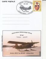 POLAR FLIGHTS, ANTONOV AN-2 PLANE AT MIRNY ANTARCTIC STATION, SPECIAL POSTCARD, 2006, ROMANIA - Polar Flights