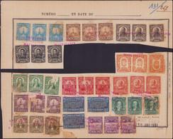 """SPE PANAMA - Poste - 121/33, 13 Bandes De 3 (défauts) Sur Page D'album UPU, Surcharge Rouge """"spécimen Collection Maurita - Panama"""