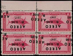 ** PANAMA - Poste Aérienne - 79, Bloc De 4 Double Surcharge, Bdf, 1 Feuille De 50 Existe (cote Uniquement En Oblitéré Pa - Panama