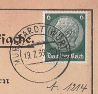 Deutsches Reich Karte Mit Tagesstempel Murrhardt Württenberg 1939 Lk Rems Murr Kreis Mit Werbung Und Zeichnung - Lettres & Documents