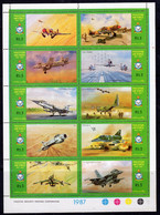 Pakistan 1987 Air Force Day Sheetlet Of 10, MNH, SG 715/24 (E) - Pakistan