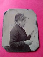 FERROTYPE - Portrait De Profil Femme âgée Lisant - Fin XIX ème - BE - Oud (voor 1900)