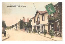 Cpa...St-Brevin-les-Pins...église Et Avenue Du Jardin Des Plantes...animée...1909...(carte Couleur, Toilée)... - Saint-Brevin-les-Pins
