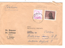 REF2007/ German Cover Aachen 1967 > Eupen Redirected Stamp 3F Baudouin Glasses Postal Rate CEE > Bolzano Itlia - Belgium