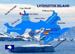 Antarctica Livingston Island Map New Postcard Antarktis Landkarte AK - Cartoline