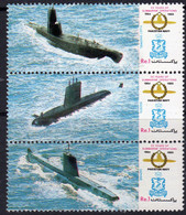 Pakistan 1989 Navy Submarines Strip Of 3, MNH, SG 763/5 (E) - Pakistan