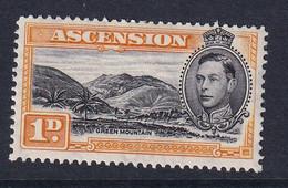 Ascension: 1938/53   KGVI    SG39b    1d   Black & Yellow-orange [Perf: 13]    MH - Ascension