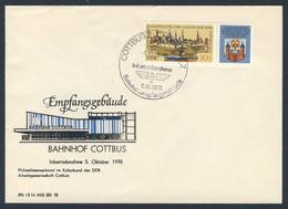 DDR Germany 1978 Brief Cover - Inbetriebnahme Bahnhofsemfangsgebäude Cottbus / Station Building - Trains