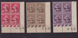 FRANCE : N° 266 . N° 267 . N°268 . 1 EX * , LES 3 AUTRES ** . BLOC DE 4 . COIN DATE .1930 . ( CATALOGUE YVERT ) . - 1921-1960: Modern Period