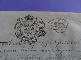 """1738 Généralité De PARIS Parchemin Timbré N°472 Actes Des Notaires """"AC.DES NOT. 13S 4D"""" + Paraphe Fiscal - Gebührenstempel, Impoststempel"""