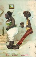 Négritude - Fantaisie - Illustrateur - Une Famille Noire - A Black Family - Un Mari Modèle - A Model Husband - 1900-1949