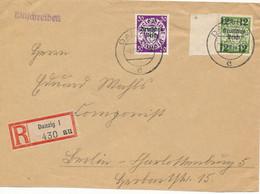 DANZIG - 4.11.39 , Freie Stadt Danzig Mit Aufdruck Deutsches Reich - R-Brief Nach Berlin - Big Letter, Dispatch = 4,20 € - Dantzig