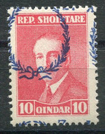 RC 18599 ALBANIE N° 180 PRÉSIDENT AHMED ZOGOU SURCHARGE DÉPLACÉE NEUF ** - Albanie