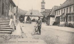 CARTE POSTALE ORIGINALE ANCIENNE : BITSCHWILLER LA RUE PRINCIPALE LE GARDE CHAMPETRE A VELO HAUT RHIN (68); - Autres Communes