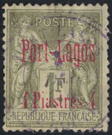 PORT LAGOS - SAGE - 1F AVEC SURCHARGE N°6 - OBLITERATION PORT LAGOS - COTE 110€. - Used Stamps