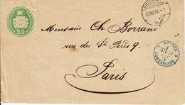 Switzerland Tübli 25 Cts Pour PARIS. Einsiedeln 15.XII.1876 - Interi Postali