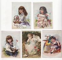 Chromo   Sans Pub    Lot De 5    Enfants, Fleurs, Coquille D'oeuf, Poupée Etc     9.5 X 6.7 Cm - Andere
