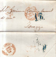 Año 1848 Prefilatelia Carta Marcas Pamplona Navarra, Zaragoza Porteo Azul 1R Antonio Aura - ...-1850 Vorphilatelie