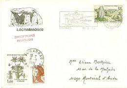 """ALIGNEMENTS DE CARNAC - FLAMME MENHIRS  """"VOIR CARNAC ET REVIVRE"""" SUR ENVELOPPE DECOREE DOLMEN LOCMARIAQUER - 11/9/1984 - 1961-...."""