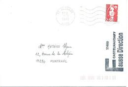 MARIANNE BRIAT SUR LETTRE POUR MONTREAL FAUSSE DIRECTION 11400 CASTELNAUDARY - 6/5/1992 - 1961-....