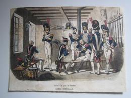 Gravure 19e Siècle 1er EMPIRE Intérieur D'un Poste De Grenadiers Ch VERNIER Lacoste Ainé (en L'état)  13,5 X 19 Cm Env - Stiche & Gravuren