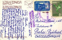 PANAMA 1960 Colour Postcard From TOCUMEN To Prague, Czechoslovakia - Panama