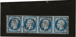 TIMBRE N° 14 - TYPE 1 - BANDE DE 4 OBLITERATION LOSANGE PETITS CHIFFRES ELBOEUF -SEINE INF- - 1853-1860 Napoleon III