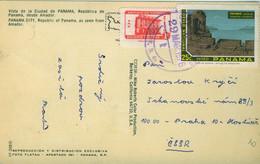 PANAMA 1976 Coloured Postcard With SG 1028 & 1087 Used To Czechoslovakia - Panama